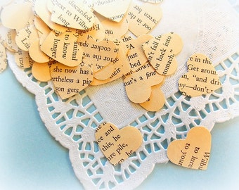 Vintage Heart Confetti  / Charlotte's Web  / 50 Pieces / Party Decor / Table Confetti