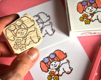 Poochie hand carved rubber stamp
