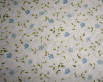 Rose Rosebud Quilt Quilting fabric Blue Rosebuds and sage green floiage  100% soft cotton 1 yard