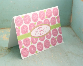 Personalized Stationery Roses Monogrammed Stationary - Thank You Notes Custom Set of 12 Notecards