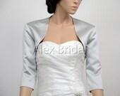 Silver 3/4 sleeve satin wedding jacket shrug