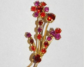 Flower Rhinestone Brooch, Small Size, Pink, Orange, Red  Vintage, 1970's 1980's