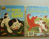 Golden Books Poky Little Puppy1970/Poky Puppies Naughty Day 1985 Good  Condition Free US Shipping