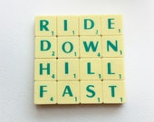 Bike drinks coaster, upcycled scrabble tiles, Mountain biker, sports, cyclists Birthday Gift