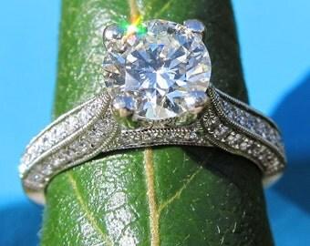 Round Diamond Engagement Ring -  14k white gold - 1.65 carats - wedding - custom made - bp032