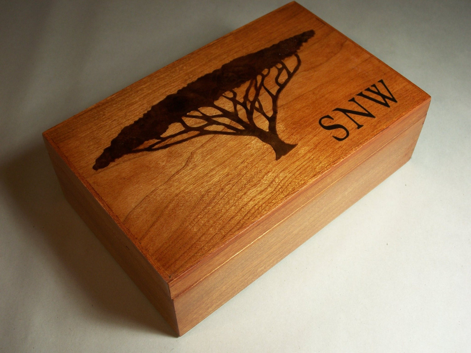personalized wood jewelry box valet box acacia tree inlay