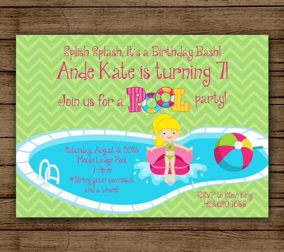 Geburtstag Einladung-Pool-Party für Mädchen Splish Splash ein