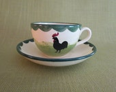 Zeller Keramik (Zell) HAHN UND HENNE / Rooster and Hen / Teacup and Saucer / Rare! Stamped Made in Western Germany / c.1950's / #44