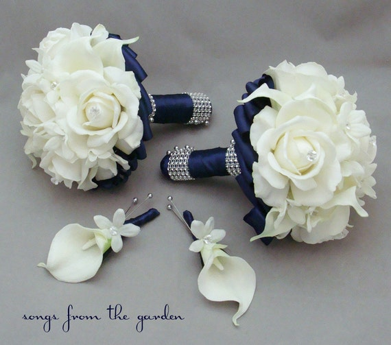 wedding bouquet packages navy wedding flower package bridesmaid bouquets groomsman 8472