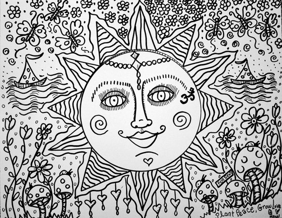 Sweet summer days a color yourself hippie art by for Hippie coloring book pages