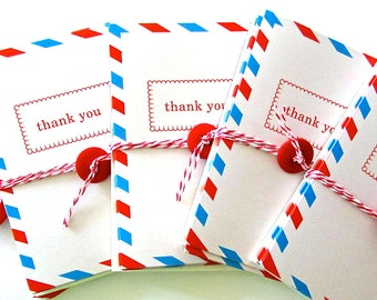 Set of 5 Thank You Air Mail Cards