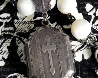 TUDOR Cross Antique French Mourning Locket & Vintage Mother of Pearl Rosary Necklace. Sterling Silver. Antique Renaissance Assemblage