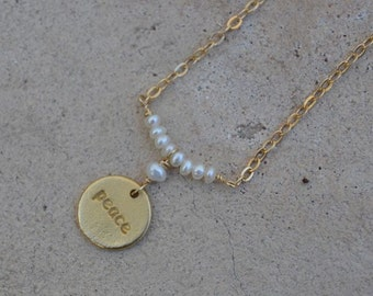 Pearl Peace Charm Necklace Gold Filled