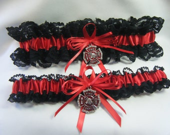 FIREFIGHTER Fireman Wedding garters Red and Black Garter Lace set