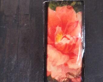 Peach pink flowers. Domino pendant on sale