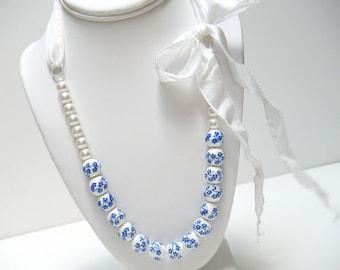 Blue Ceramic Ribbon Necklace, Dutch China Blue Necklace, Beaded Necklace, White Ribbon Necklace - Dutch Blue Ribbon Necklace