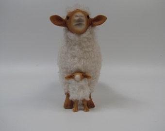 Sheep Sculpture, American Tunis Straddling Lamb