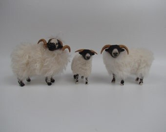 Handcrafted Sheep Figures, Scottish Blackface Family