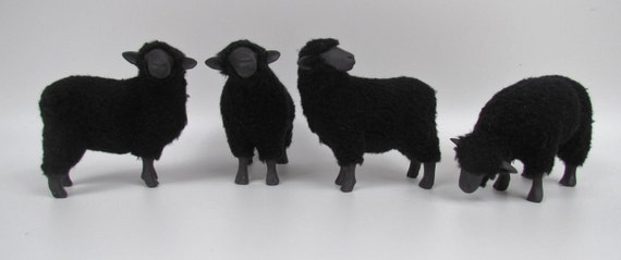 Black Sheep Sculptures in Porcelain and Wool 5 1/2""
