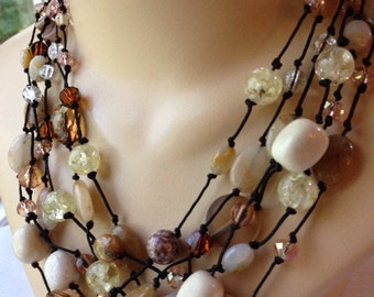 Cream and Coral Multi Strand Multi Stone Knotted Necklace
