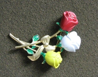 Vintage red white yellow flower pin brooch by Danecraft