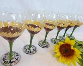 Hand Painted Personalized Sunflower Wine Glasses  - GREAT For BACHELORETTE PARTIES