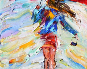 Rain Dance 16 x 20 Gallery Quality Giclee Print on Archival canvas of painting by Karen Tarlton fine art impressionism by Karen Tarlton