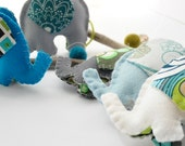 Custom Listing, Additional Shipping Charge - Elephant Mobile for modern nursery decor in Blue, Green, and Grey