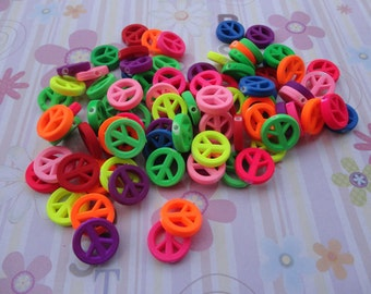 Wholesale 50pcs 15mmx15mm Acrylic Neon/Rainbow Peace Beads with 2mm Hole