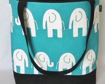 Elephant canvas tote, personalized diaper bag, large weekender, beach bag, shoulder bag, zip top, nappy bag, in 4 colors