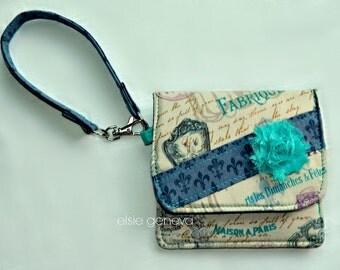 Natural Grey & Aqua Teal Vintage French Words Paris Wallet Cell Phone Case Wristlet Credit Cards Zipper