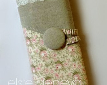 """Vintage Lace Knitting Case Natural Japanese Linen Pink Roses Interchangeable 10 12 14 """" Inch Spill Proof Straight Needle Case Organizer Roll"""