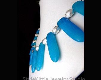 Blue Jade Collar Necklace, Brushed Satin 925 Sterling Silver, Stick Briolette, Cleopatra, Statement, Bright Blue, Vivid, Gemstone, Jewelry