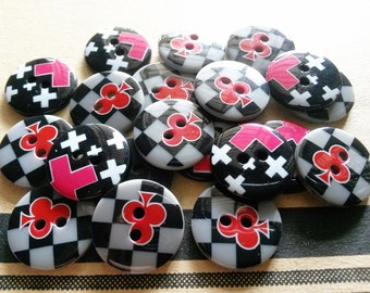26 pcs Cute Graphic Printed Retro Buttons 18 mm