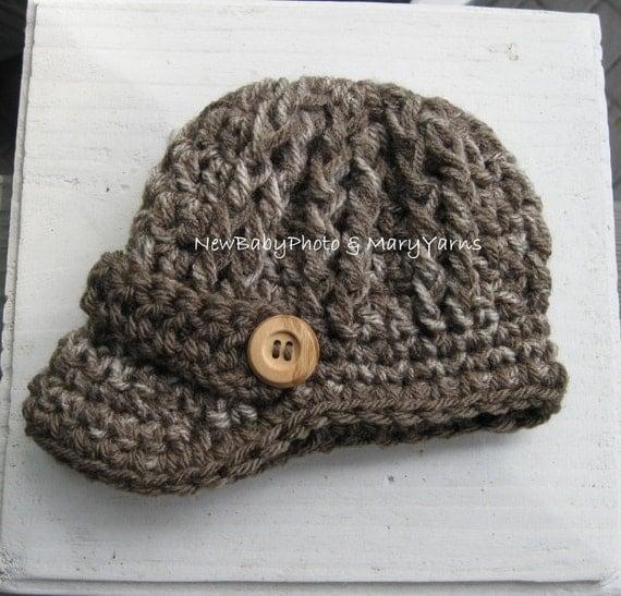 Crochet Newsboy Hat : Crochet HAT Baby Newborn Photoprop / Newsboy Hat Visor Brim Cap Beanie ...