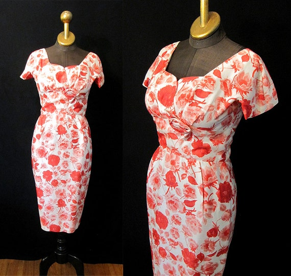 "CLEARANCE Beautiful1950's Silk Print Shelf Bust Wiggle Cocktail Dress by ""Jane Andre California"" Pinup Vixen Curvy Bombshell Size- Small"