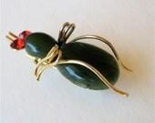Vintage Jade Bug Brooch Glass Eyes Gold Tone or Plate