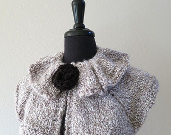 FREE US SHIPPING - Light Gray Color Knitted Capelet Ruffled Collar Cowl with Knitted Black Brooch