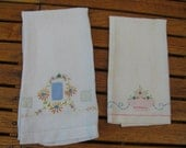Pair Hand Applique and Embroidery Linen Guest Towel Finger Tip Towels