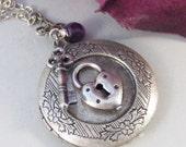 Spell Bound,Locket,Silver,Amethyst,Purple,Gem,Love,Spell,Perfume,Antique Locket,Jewelry,Scent. Handmade jewelry by valleygirldesigns.
