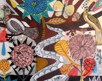 Tree of Paradise -Art Print. Tree of life , art painting flowers, bohemian, folk, funky, naive, primitive..