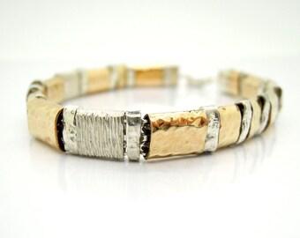 Gold filled and silver hammered bracelet