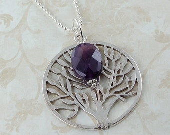 Antique Silver Tree of Life Necklace with Amethyst Gemstone - Wedding Bridesmaids Bridal Jewelry