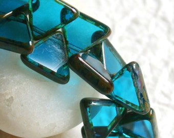 Triangle Beads - Jewelry Making Supplies - Czech Glass Beads - Picasso Beads - Top Drilled - Transparent Blue (24 Pieces - Full Strand) 13mm