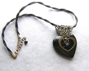 Black Agate Heart Choker-Leather and Lace-Leather Twist Cord, Brass, Black