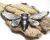 Fine Silver Cicada Necklace, Insect Jewelry, Recycled Silver