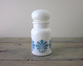 Milk Glass Lidded Apothecary Jar with Blue Designs