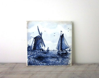 Vintage Blue and White Footed Tile Trivet with Windmill and Sailboat