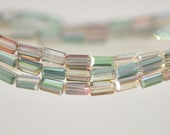 """Square Tube/ Long Cube Crystal Glass Faceted Stick Beads 6mm  (TS63-1)/ 17"""" strand"""