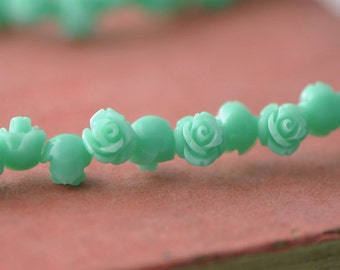 Coral Rose Flower 8mm 3D Cabochon beads Mint Green -(SF01-9)/ 20pcs